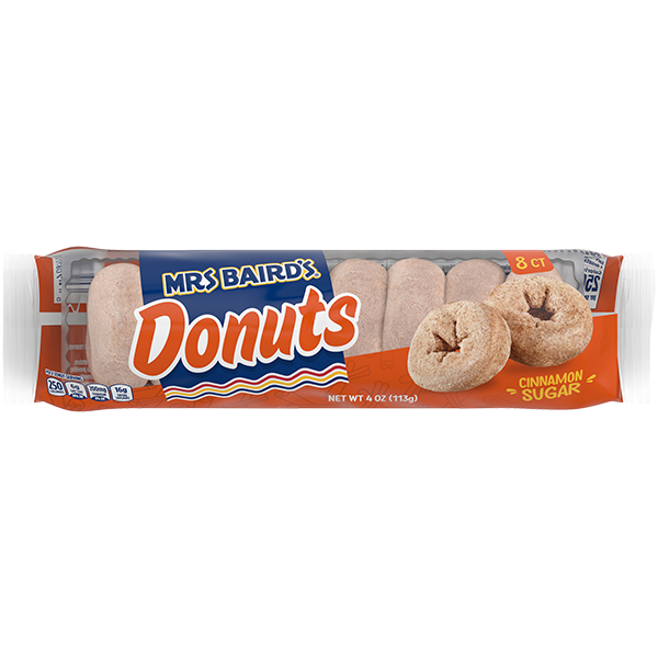 A six-count package of Mrs Baird's Cinnamon Sugar Donuts