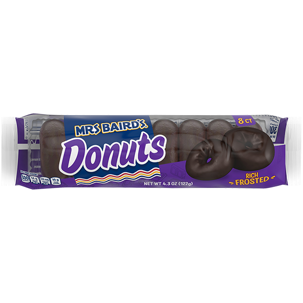 A six-count package of Mrs Baird's Rich Frosted Donuts
