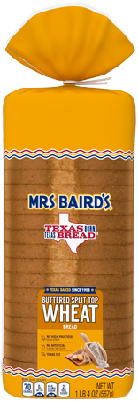 A bag containing a loaf of Mrs Baird's Buttered Split Top Wheat bread