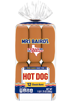 An 12-count bag of Mrs Baird's Hot Dog Buns
