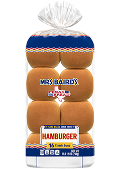 A 16-count bag of Mrs Baird's Hamburger Buns