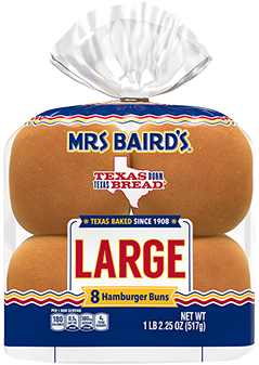 An eight-count bag of Mrs Baird's Large Hamburger Buns