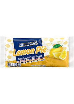 A single-serve package of Mrs Baird's Lemon Pie