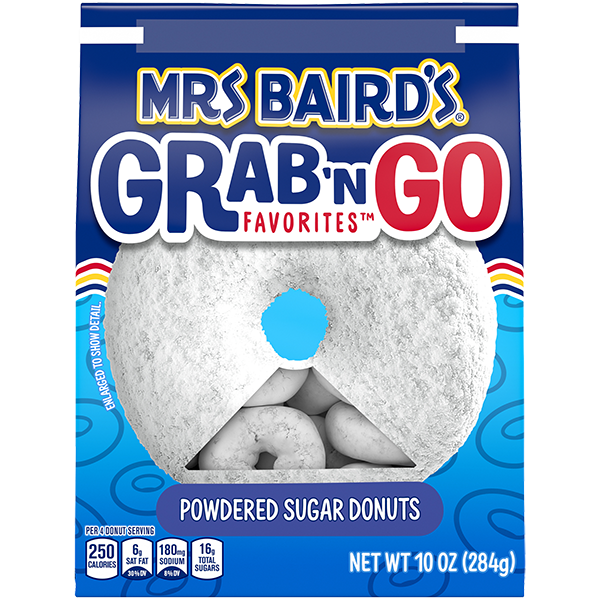 A grab-and-go bag of Mrs Baird's Powdered Sugar Donuts