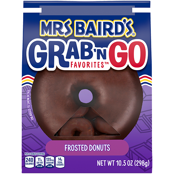 A grab-and-go bag of Mrs Baird's Frosted Donuts