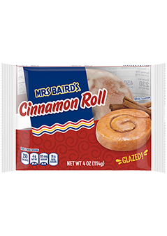 A single-serve package of Mrs Baird's Cinnamon Rolls