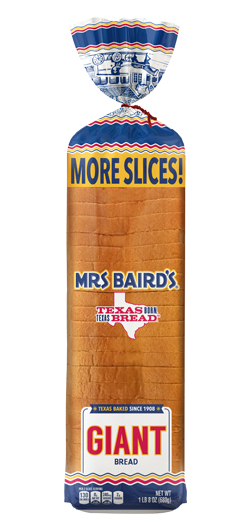 A bag containing a loaf of Mrs Baird's Giant White Bread