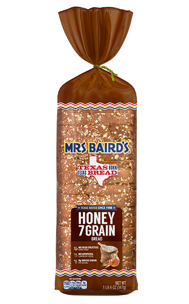 A bag containing a loaf of Mrs Baird's Honey 7 Grain bread