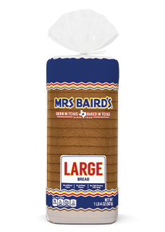 A bag containing a loaf of Mrs Baird's Large White Bread