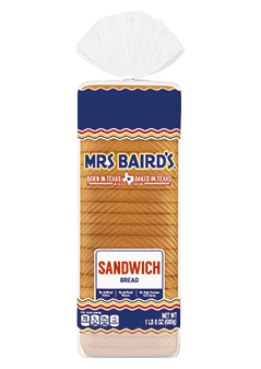 A bag containing a loaf of Mrs Baird's Extra-Thin White Sandwich Bread