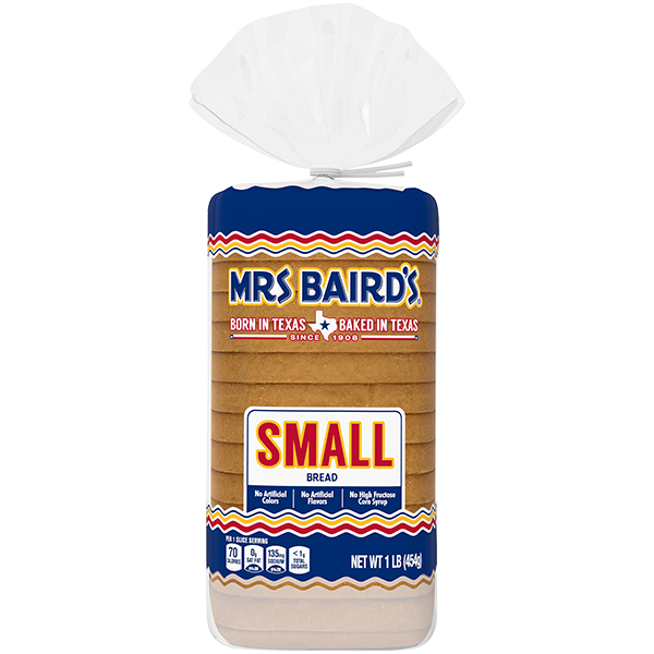 A bag containing a loaf of Mrs Baird's Small White bread