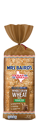 A bag containing a loaf of Mrs Baird's Whole Grain Wheat bread