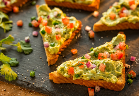 Mrs Baird's Tex-Mex Toast, with an avocado/sour cream spread and diced tomatoes